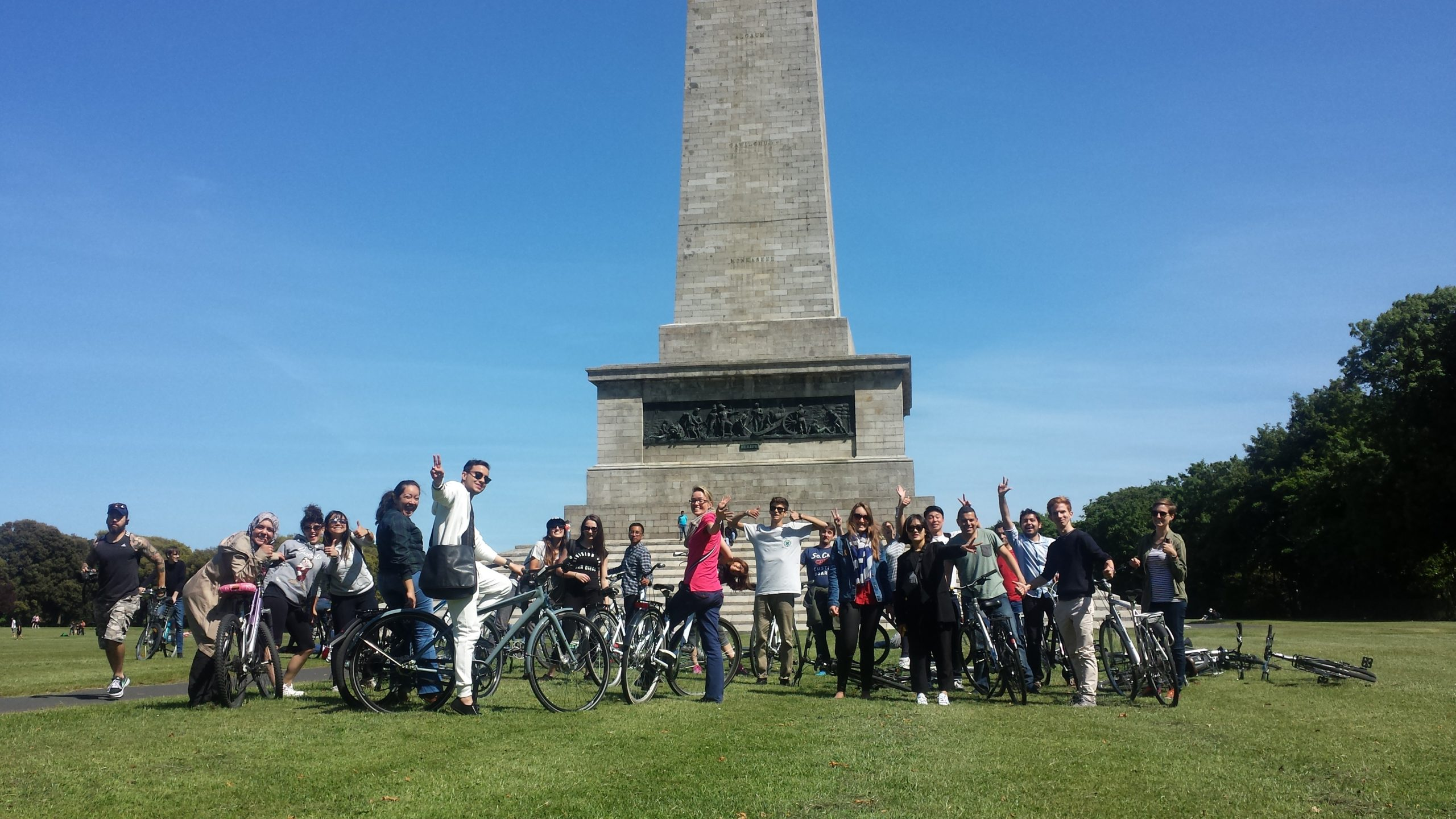 Atlas students at the Wellington Monument in the Phoenix Park - no need to rent a bike if you have one already!