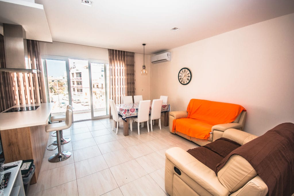 New Atlas apartments in Malta with kitchen and living room