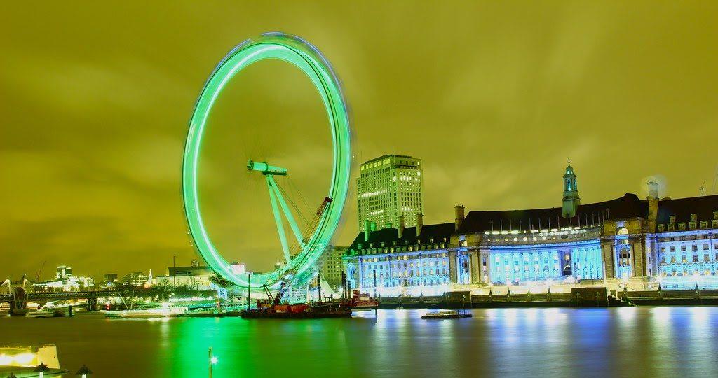 London Eye colored green for St Patrick's celebration