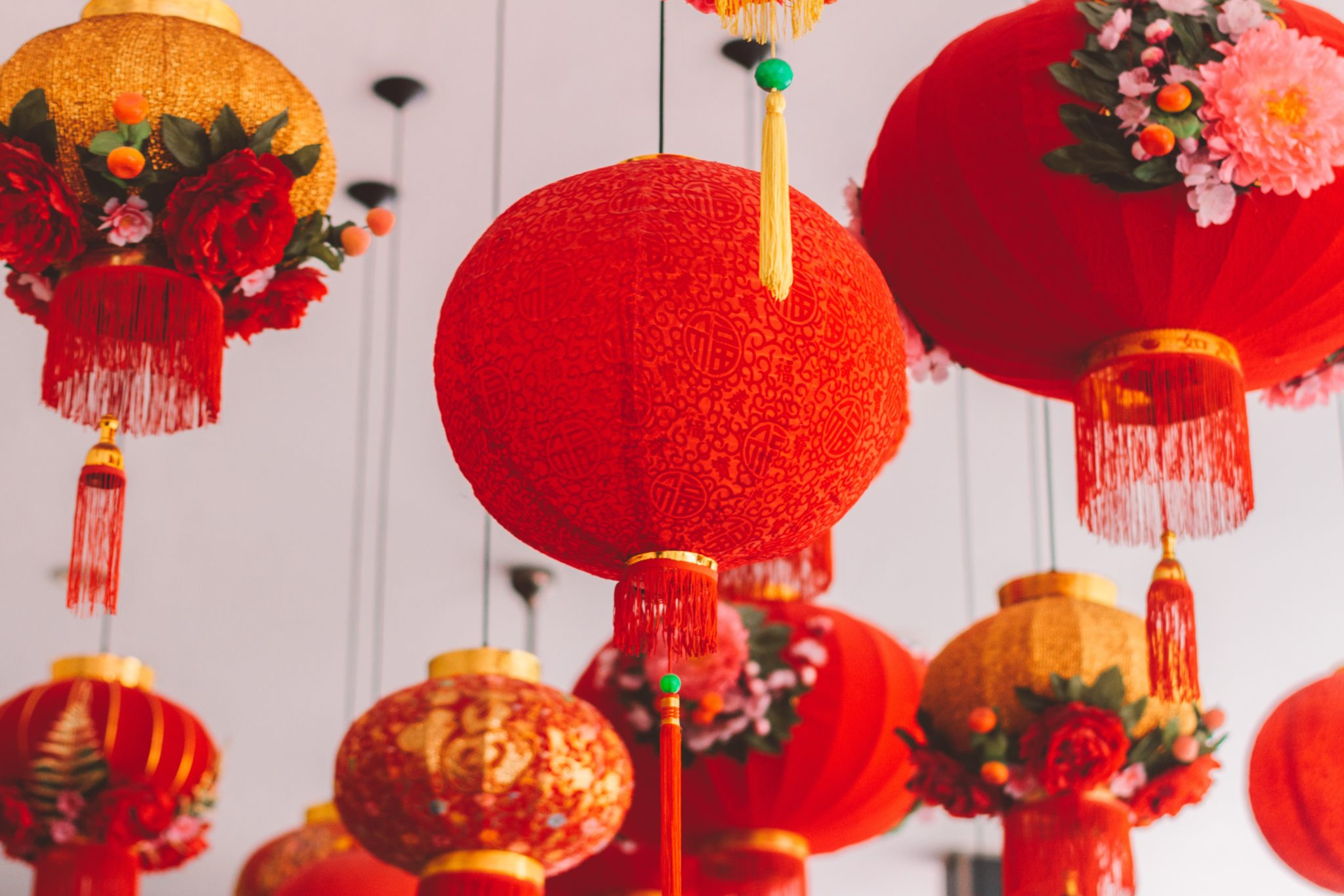 Lunar new year decorations in red color